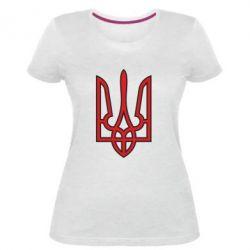 Женская стрейчевая футболка Герб України (двокольоровий) - FatLine