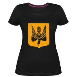 Жіноча стрейчева футболка Герб України сокіл