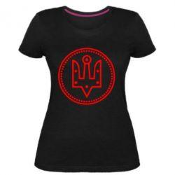Жіноча стрейчева футболка Герб України у колі