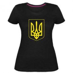 Женская стрейчевая футболка Герб України з рамкою