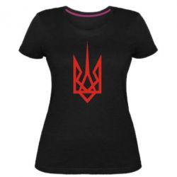Женская стрейчевая футболка Герб України загострений - FatLine