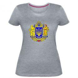 Жіноча стрейчева футболка Герб України повнокольоровий