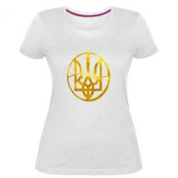Жіноча стрейчева футболка Герб у колі Голограма