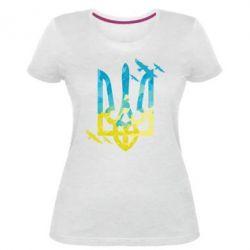 Жіноча стрейчева футболка Герб з птахами