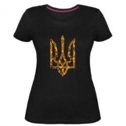 Жіноча стрейчева футболка Герб з візерунками
