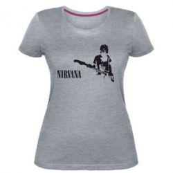 Жіноча стрейчева футболка Гітарист Nirvana
