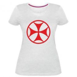 Женская стрейчевая футболка Грузинский Крест