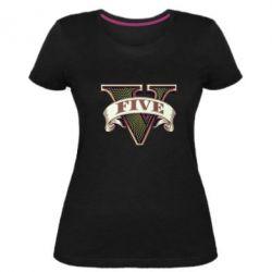 Жіноча стрейчева футболка GTA 5 3D Logo