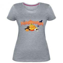 Женская стрейчевая футболка Halloween Logo