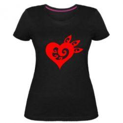 Купить 14 Февраля, Женская стрейчевая футболка Heart, FatLine