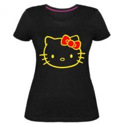 Женская стрейчевая футболка Hello Kitty logo