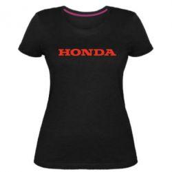 Жіноча стрейчева футболка Honda напис