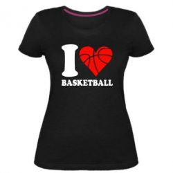 Жіноча стрейчева футболка I love basketball