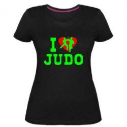 Женская стрейчевая футболка I love Judo