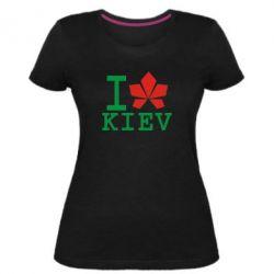 Женская стрейчевая футболка I love Kiev - с листиком - FatLine