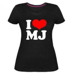 Женская стрейчевая футболка I love MJ