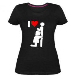 Жіноча стрейчева футболка I love oral
