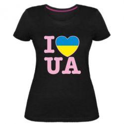 Женская стрейчевая футболка I love UA