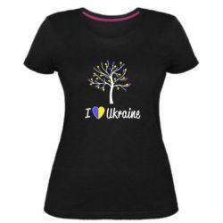 Женская стрейчевая футболка I love Ukraine дерево
