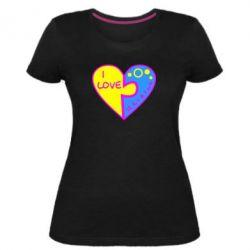 Женская стрейчевая футболка I love Ukraine пазлы - FatLine