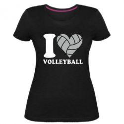 Жіноча стрейчева футболка I love volleyball