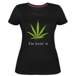 Женская стрейчевая футболка I'm lovin it!
