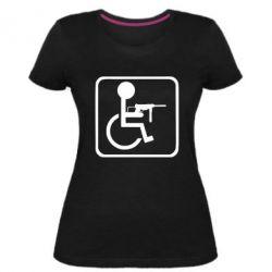 Жіноча стрейчева футболка Інвалід з MP40