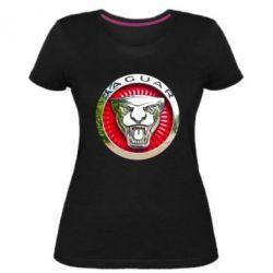 Женская стрейчевая футболка Jaguar emblem