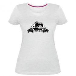 Женская стрейчевая футболка Jeep rocks