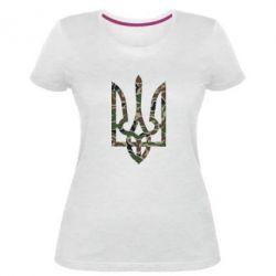Женская стрейчевая футболка Камуфляжный герб Украины