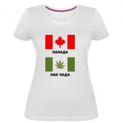 Женская стрейчевая футболка Канада Как надо
