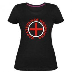 Женская стрейчевая футболка Карательная медицина лого
