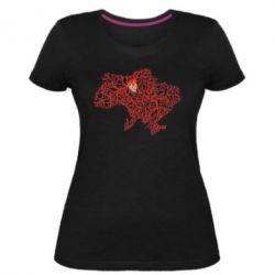 Женская стрейчевая футболка Карта України з серцем - FatLine