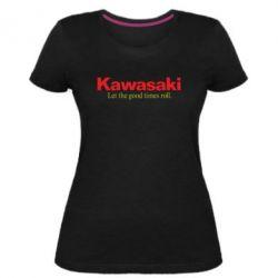 Жіноча стрейчева футболка Kawasaki. Let the good times roll.