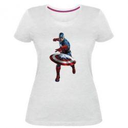 Женская стрейчевая футболка Кэп