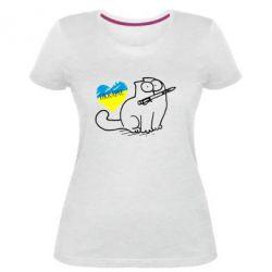 Женская стрейчевая футболка Кіт-патріот