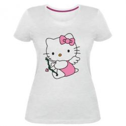 Женская стрейчевая футболка Kitty амурчик - FatLine