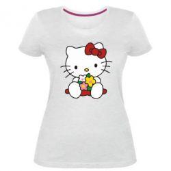 Женская стрейчевая футболка Kitty с букетиком