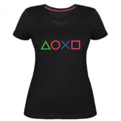 Жіноча стрейчева футболка Кнопки PlayStation