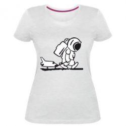 Жіноча стрейчева футболка Космонавт