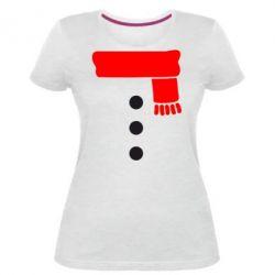 Жіноча стрейчева футболка Костюм сніговика