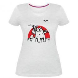 Жіноча стрейчева футболка Кот Саймона на фоне заката