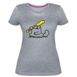 Жіноча стрейчева футболка Кот Саймона с битой