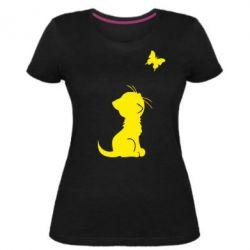Женская стрейчевая футболка котик и бабочка - FatLine