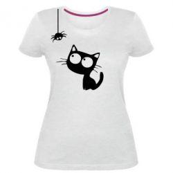 Жіноча стрейчева футболка Котик і павук