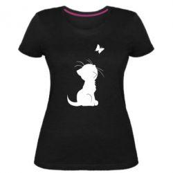 Жіноча стрейчева футболка Котик з метеликом