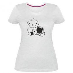 Женская стрейчевая футболка котята - FatLine