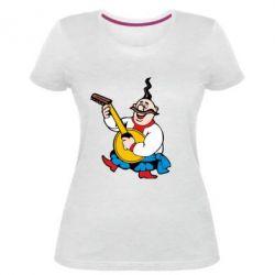 Женская стрейчевая футболка Козак с бандурой