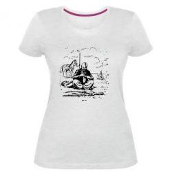 Жіноча стрейчева футболка Козак та кінь