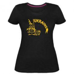 Женская стрейчевая футболка Козак з гарматою - FatLine